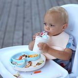 Just Roll! SiliBib (Set of 2) - Silicone Bib in Cotton Candy + Grey