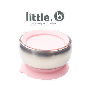 Little.b Double-layer 316 Stainless Steel Suction Bowl - Pink