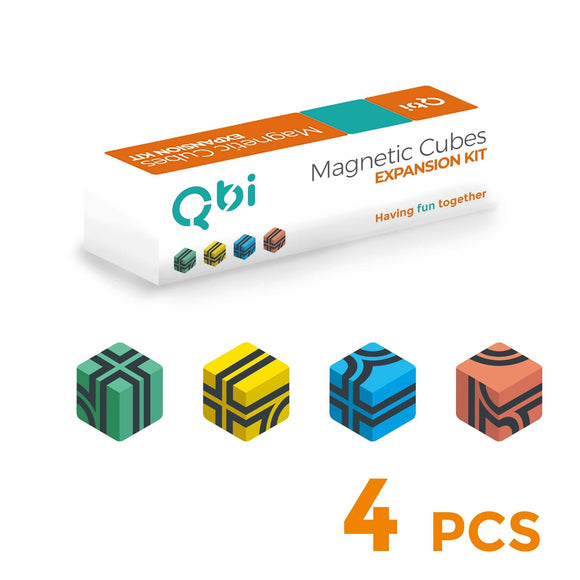 QbiToy Magnetic Cubes - Expansion Kit - 4 Cubes - STEM Toys