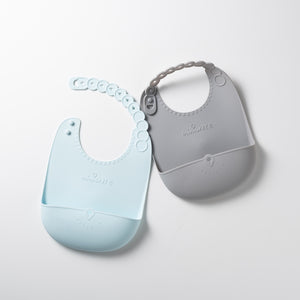 Just Roll! SiliBib (Set of 2) - Silicone Bib in Aqua + Grey
