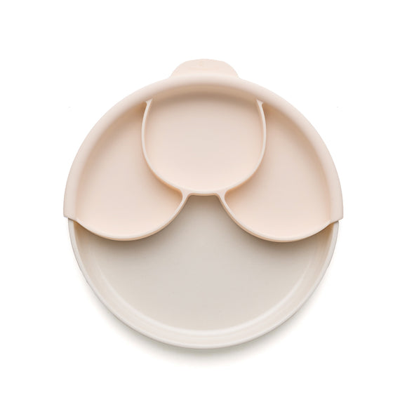 Miniware Smart Divider Plate Set - Natural Bamboo + Peach