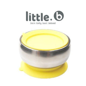 Little.b Double-layer 316 Stainless Steel Suction Bowl - Yellow