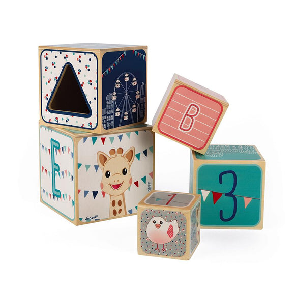 Janod Sophie la Girafe 5-Block Wooden Stacking and Nesting Blocks