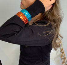 Load image into Gallery viewer, Black Puff Sleeve Sequin Cuff Jumper