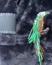 Load image into Gallery viewer, Black Midi Fur Coat Frilled Cuffs/Tropical Bird