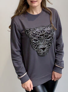 Grey Leopard Metallic Cuff Detail Sweatshirt