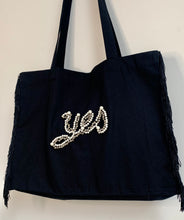 Load image into Gallery viewer, 'Yes' Black Fringed Bag