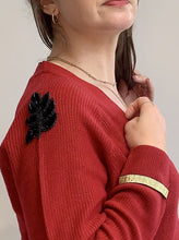 Load image into Gallery viewer, Berry Red Sequin Leaf Shoulder Cardigan