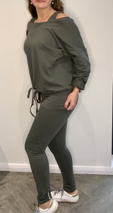 Khaki Top + Vest + Leggings 3 Piece Set