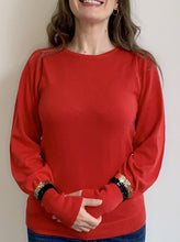Load image into Gallery viewer, Red Puff Sleeve Gold Stripe Sequin Cuff Jumper