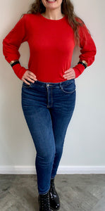 Red Puff Sleeve Gold Stripe Sequin Cuff Jumper