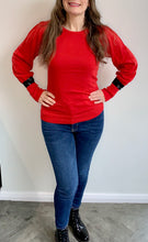 Load image into Gallery viewer, Red Puff Sleeve Black Sequin Cuff Jumper