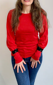 Red Puff Sleeve Black Sequin Cuff Jumper