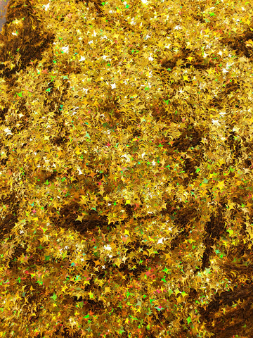Gold Holographic - Four Point Star Mix - GOLD GLITTER