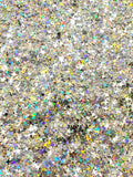 HOLOGRAPHIC GLITTER - Four Point Star Mix - Silver Holographic