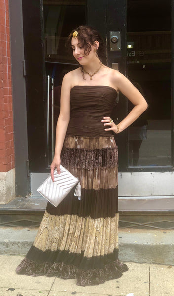 BCBG Maxazria Strapless Brown Silk Dress Gown