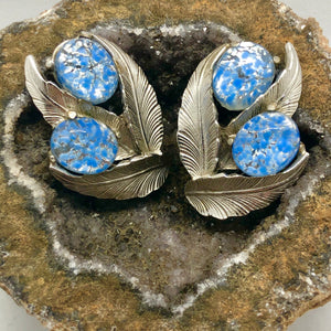 Vintage Signed Schiaparelli Silver Leaf Fire Blue Cabochon Clip Earrings