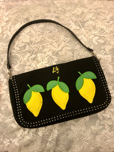 Lulu Guinness Quilted Lemon Black & Yellow Cotton Hand Bag Summer Purse