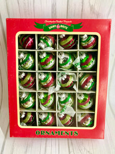 20 Christopher Radko Shiny Brite Nostalgic Red Green Silver Glass Ornaments Set