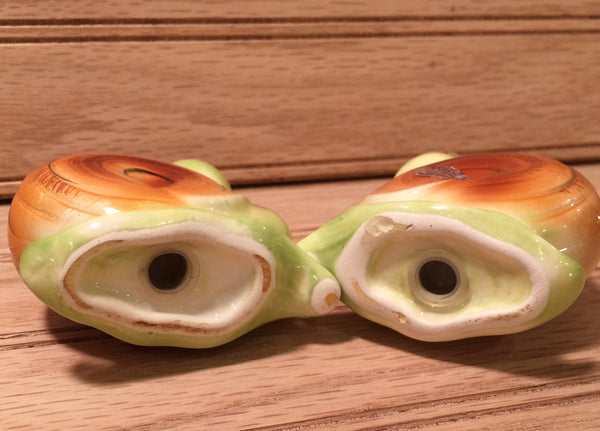 Vintage Enesco Anthropomorphic Snappy the Snail Salt and Pepper Shakers