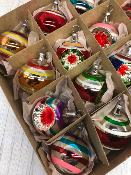 Kurt Adler Early Years Vintage Ball & Reflector Yam Ornaments Set Of 24.