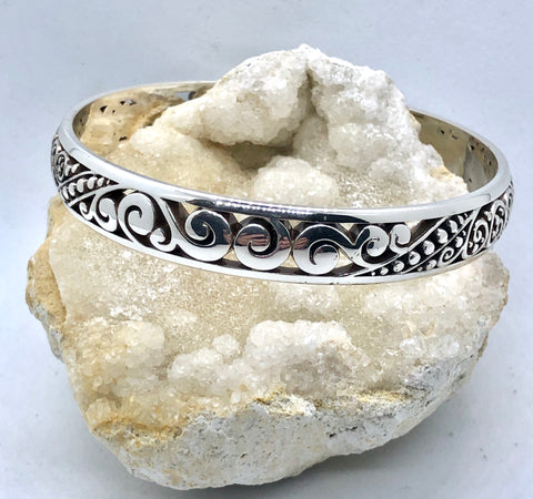 Brighton Love Affair Silver Swirl & Dot Bangle Bracelet