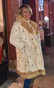 Vintage Spotted Lynx Fur Coat with Fox Fur Collar