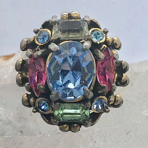 1953 Signed Hollycraft Rhinestone Adjustable Cocktail Ring