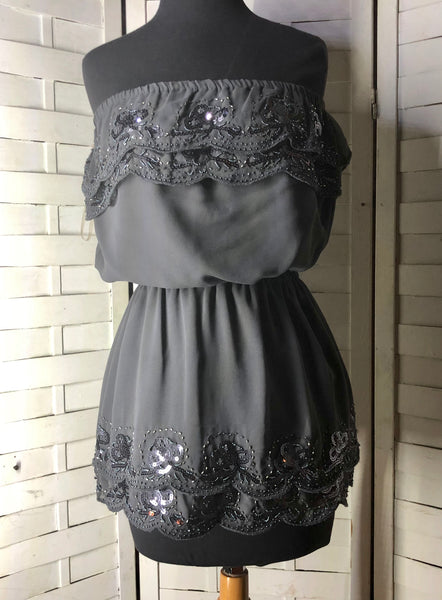 Forever 21 Strapless Gray Chiffon Beaded & Sequins Blouse