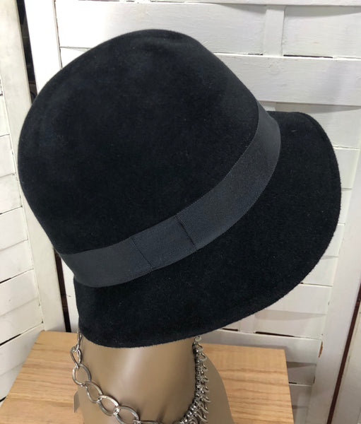 Tracy Watts Black Wool Bowler Hat
