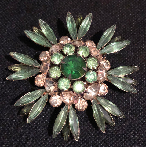Vintage Judy Lee Green Rhinestone Flower Brooch