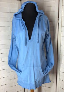 Gap Women's Light Weight Blue V Neck Long Sleeve Hooded Pocket Pullover Shirt