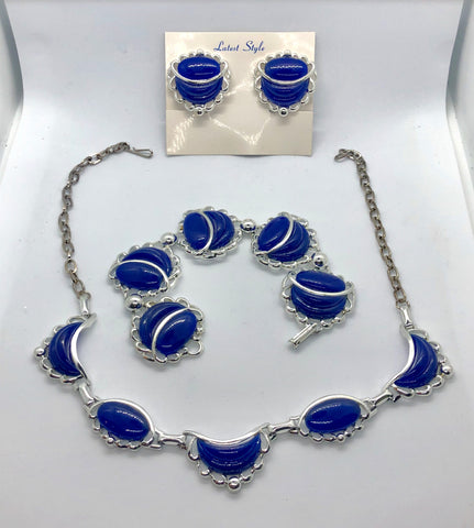 Vintage 3pc Blue & Silver Panel Collar Necklace Bracelet & Clip Earrings