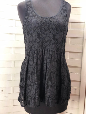 Rubbish Sheer Black Lace Sleeveless Tunic Tank Blouse Size S