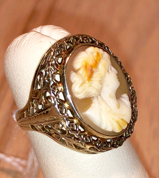 Art Deco 10k White Gold Vintage Carved Shell Cameo Ring