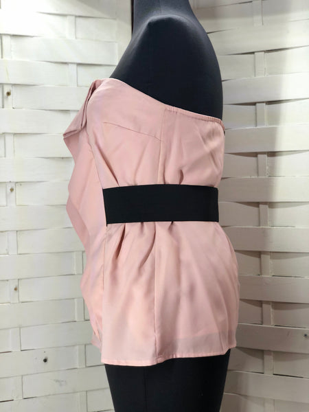 Forever 21 Pink & Black Strapless Blouse Size M