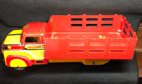 Vintage Marx Red & Yellow Tin Litho Panel Delivery Truck