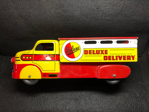 Vintage Marx Red & Yellow Deluxe Special Delivery Tin Litho Dump Truck
