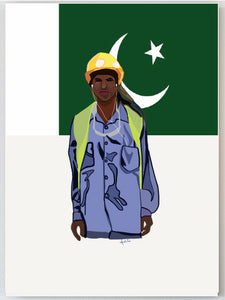 Construction worker Pakistan Flag