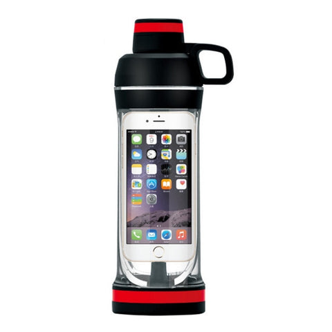 Built-in Mobile Phone Compartment Water Bottle