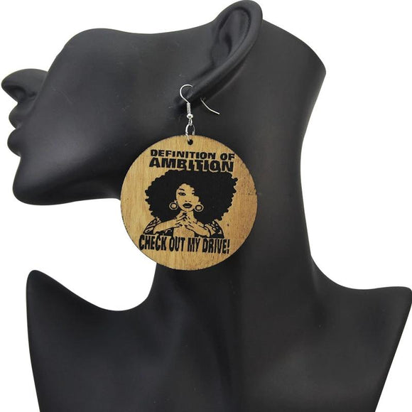 Ambition Wooden Earrings