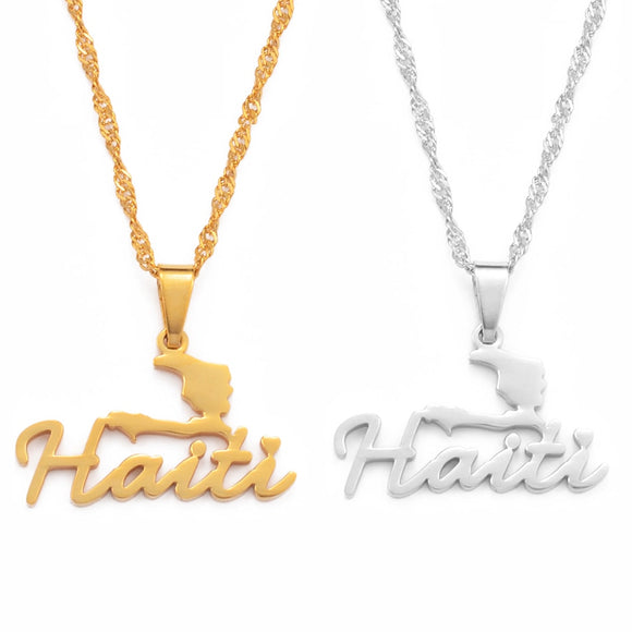 Haiti with Map Necklace