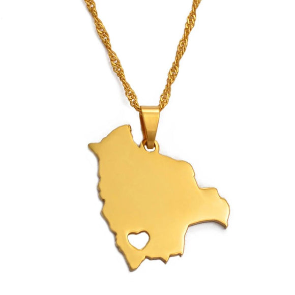 Bolivia Map  Necklace