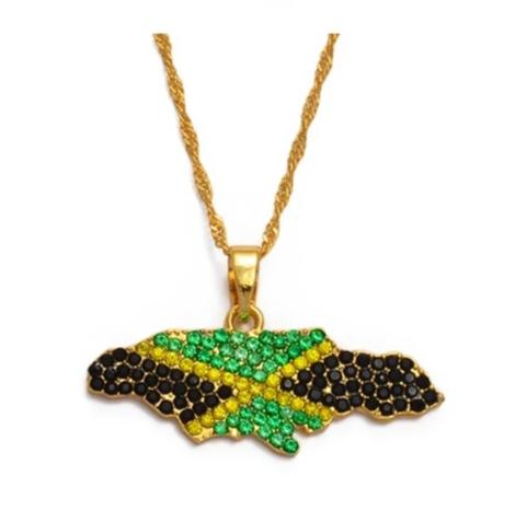 Icy Colored Jamaica Flag Necklaces