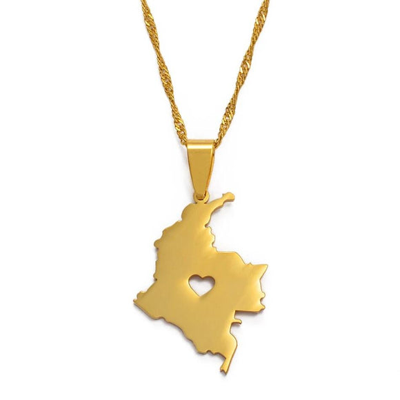 Colombia Heart Map Necklace
