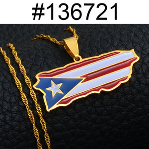 Puerto Rico Flag Necklace