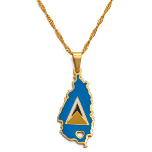 Colored Saint Lucia Flag Necklace W/ Heart