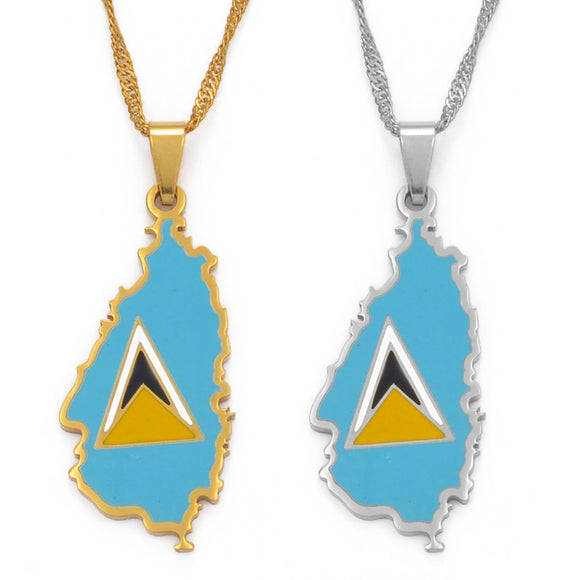 Saint Lucia Flag Necklace