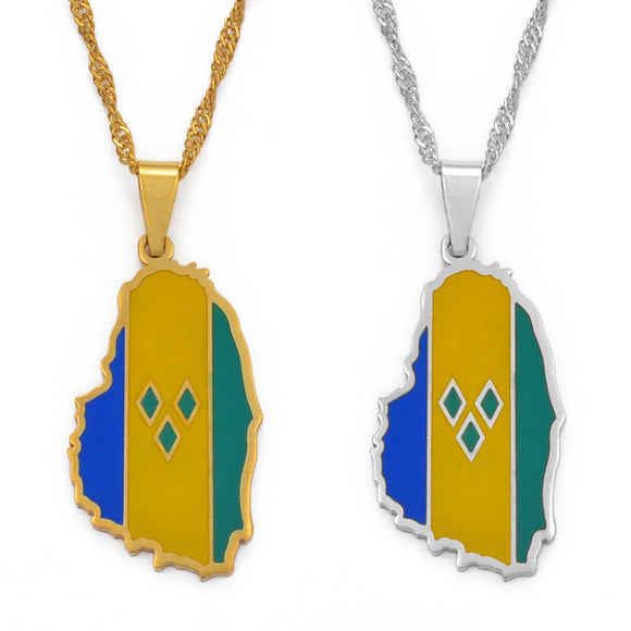 ST. Vincent Flag Map Necklace