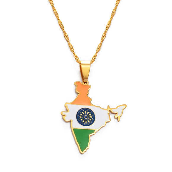 India Map Flag Necklace